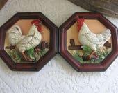 Rooster Plaques Napco Ware Ceramic Chicken Farmhouse Rustic Home Decor and Wall Decor