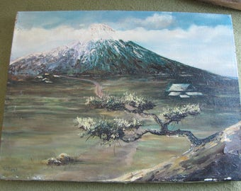 S. Vibert Original Oil Painting Mountain and Bonsai Vintage Wall Art Scenic Mountain Canvas and Oil Nature Scenes Home and Wall Decor