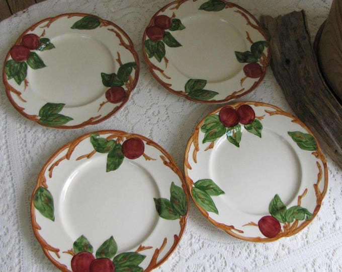 Franciscan Apple Salad Plates Set of Four (4) 1953-1958 Vintage Dinnerware and Replacements California Pottery