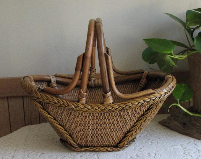 Rattan Basket Vintage Baskets and Home Décor Garden Trug and Vegetable Gathering Baskets
