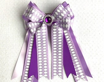 Equestrian Bows for horse shows/beautiful purple white silver sparkle bling