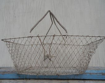 French Country Rustic Collapsible Vintage Wire Basket!