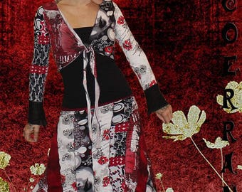 All Bolero and skirt asymmetric 'Black and Red Patch...'