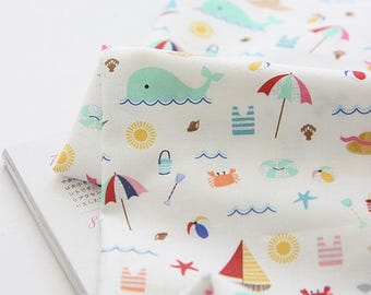 Beach Pattern Digital Printing Cotton Fabric by Yard