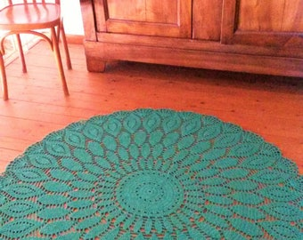 Extra large crocheted floor mat