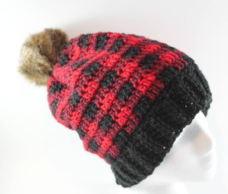 Red Buffalo Check Faux Fur Trer Hat