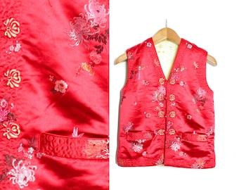 Red Oriental vest, Mandarin collar, Chinese shirt, Oriental shirt, Kimono top, Chinese blouse, Red roses, Red yellow vest / Small  Medium