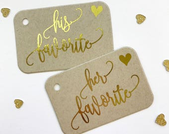 His Her Our Favorite Foiled Kraft Wedding Tags, Wedding Favor Tags, Favor Tags, (RR-417-FKR)