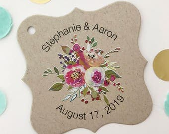 Penelope - Personalized Save the Date Kraft Wedding/Engagement/Celebration/Event Hang Tags (FS-379-008-KR-WT-B)