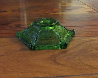 Beautiful Vintage Green Uraniam Glass Candleholder