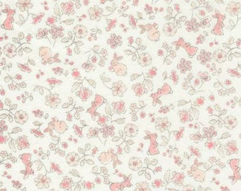 45'' Timeless Treasures Cream Bunny Floral Flannel by he yard CF4678-CRM