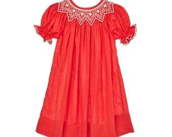 Classic Red Smocked Bishop Dress