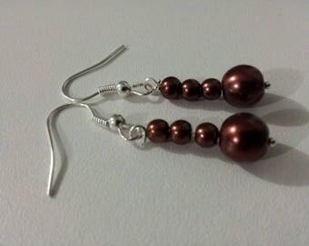 Wedding earrings silver Brown pearl beads