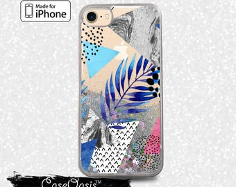 Blue Triangles and Palm Tree Leave Pattern Liquid Glitter Sparkle Case iPhone 6 and 6s iPhone 6 Plus and 6s Plus iPhone 7 and iPhone 7 Plus