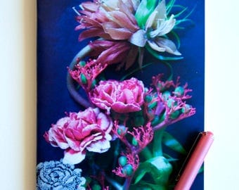 """Pink bouquet of carnations"" and flower tapestry on a blue background, glossy paper cover notebook"