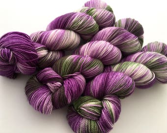 Hand Dyed/HandPainted Yarn--Petunias on Silken Sock 80 Superwash Merino/20 Silk 2-Ply Twist Sock