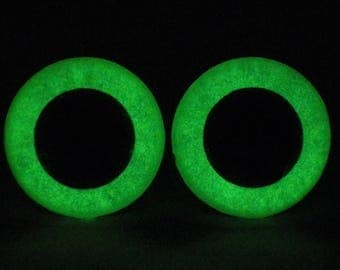 16.5mm Glow In The Dark Eyes, Metallic Green Safety Eyes With Green Glow, 1 Pair Of Glow In The Dark Safety Eyes