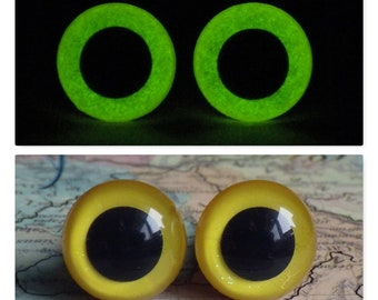 12mm Glow In The Dark Eyes, Yellow Glitter Safety Eyes With Greenish Yellow Glow, 1 Pair Of Glow In The Dark Safety Eyes