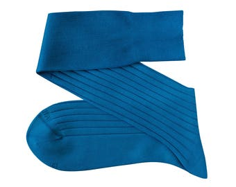 Turquoise Blue Men Over The Calf New Ribbed %100 Cotton Lisle Casual Dress Socks