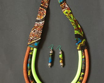 Wax necklace and earrings