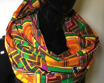 foulard double echarpe infinity tube tissu wax et velours originale et chaude snood infinity chaud hiver