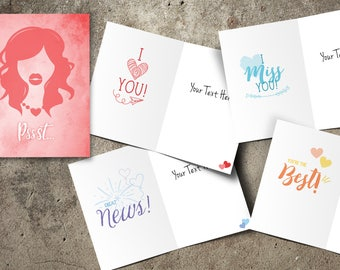 women greeting card, customized card for mom grandma sister gitlfriend bff teacher, I miss you, I love you, you're the best, great news
