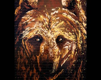 Modern painting of a bear 50x70cm