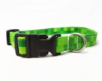 "Dog Collar - ""Gamer"" - Green - Small/Medium/Large/Extra Large Dog Collar - Nerdy/Geeky Dog Collar - Fun/Trendy Dog Collar - Soft/Durable"