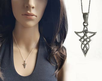 Celtic Necklace, Sterling Silver Pendant Necklace, Celtic Style Knot Charm 925 Silver Jewelry, Chain Necklace, Gift Idea