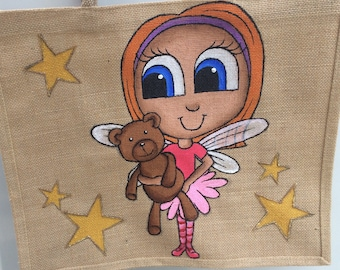 Strawberry Blonde Fairy Large Bag. Ginger girl with teddy and stars design.