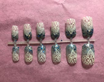 Blue Acrylic Nails Glitter Fake Nails Sparkle Glue On Nails Detailed Press On Nails