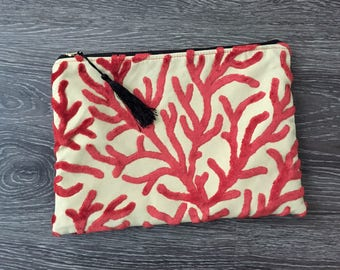 Clutch, Clutch Purse, Evening Bag, Zippered Bag, Slouchy Bag,  Cosmetic Bag in Coral Print - Made in Maui
