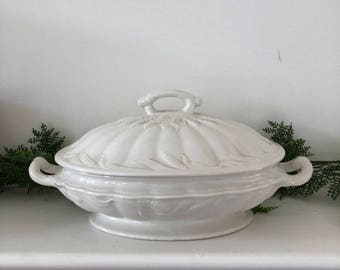 Ironstone Vegetable Bowl with Lid