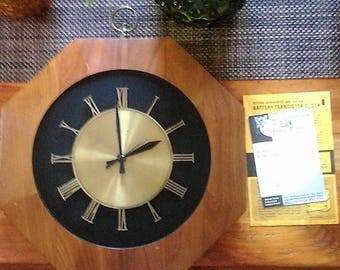 Mid Century Hexagon Elgin Wall Clock