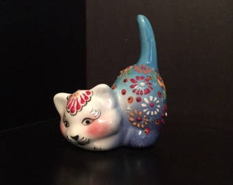 Vintage Turkish Nimet Ceramic - Blue Cat