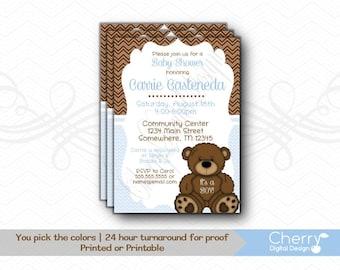 Teddy Bear Baby Shower Invitation for Boy | Printed or Printable Baby Shower Invitations Blue Brown