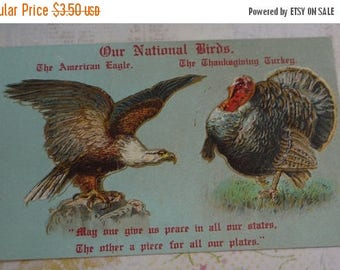 ON SALE till 7/28 Our National Birds, Turkey and Eagle  Antique Thanksgiving Postcard