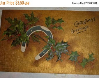 60% off till 8/15 Lucky Horse Shoe With Holly Antque Christmas Postcard