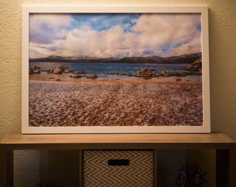 24 x 36 in Framed Photo Of A Snowy Beach In Lake Tahoe