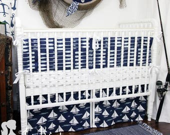 Nautical Oars and Sailboat Baby Crib Bedding | Nautical Baby Boy Nursery | Oars Baby Bedding Set | Sailboat Crib Bedding Set