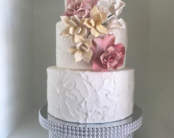 """Lei Pearl and Silver Bling Cake Stand available in 10"""", 12"""", 14"""", 16"""", Custom"""