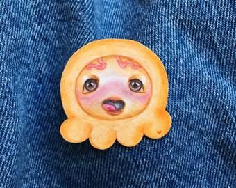 Hand Drawn Orange Character Pin ~ Original Artwork
