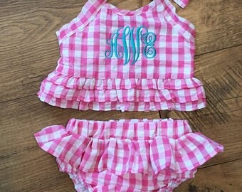 SALE***Monogrammed Two-Piece Pink Gingham Ruffle Swimsuit Bathing Suit