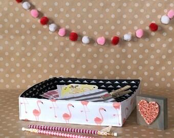 Small Planner Storage Caddy. Sticker Storage Tote. Portable Storage Bin. Trendy Handmade Fabric Caddy. Craft Organization. Flamingo Room.