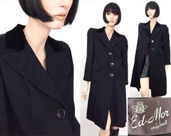 Vintage Coat ~ 40s jacket ~ WWII Era ~ Black Jacket ~ Goth Clothing ~ Long Coat ~ 1930s ~ 1940s ~ Ed-Mor coats ~ M