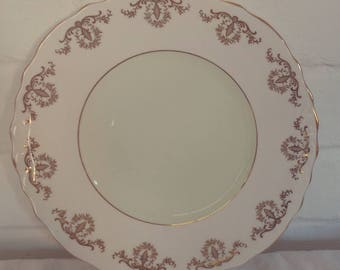 Stunning Vintage Royal Vale English Bone China Mint Green and Gold Floral Detail Bone China Cake Plate-Perfect for afternoon tea