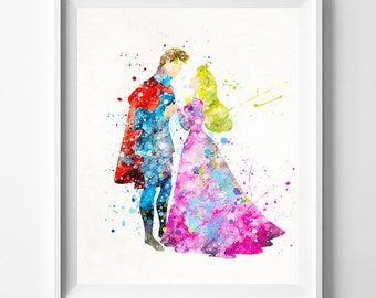 Disney Princess, Sleeping Beauty Art, Princess Aurora, Aurora Print, Disney Poster, Prince Philip, Nursery Decor, Type 1, Valentines Day