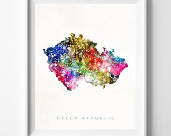 Czech Republic Map, Prague Print, Czech Republic Poster, Prague Map, Travel Poster, Watercolor Painting, Wall Decor, Valentines Day Gift