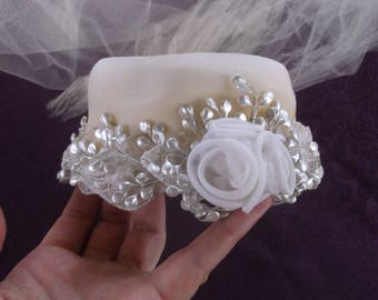 Vintage 1950s Pill Box Wedding Hat with Cascading White Veil, Needs Some TLC, All Original with White Tullle, Flowers, Faux Pearls