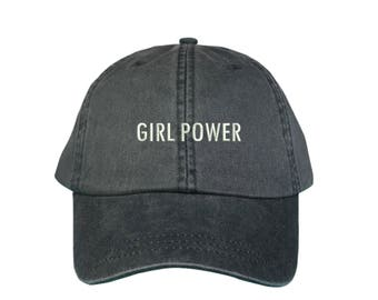 """GIRL POWER Washed Dad Hat, Embroidered """"Girl Power"""" Feminism Hat, Low Profile Girl Gang Feminist Baseball Cap Hat, Charcoal Black"""